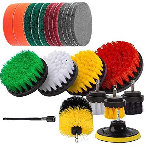 DierCosy Tools Perforar 22pcs Accesorio de Cepillo Kit de alimentación del depurador de perforación y cepillos Scrub Pad de Limpieza Piscina Cocina Planta Jardín