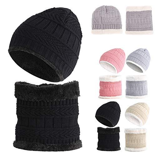 Baby hoeden en sjaals baby peuter jongens meisjes dikke winter warme muts ski hoed & sjaal halswarmer set (zwart)