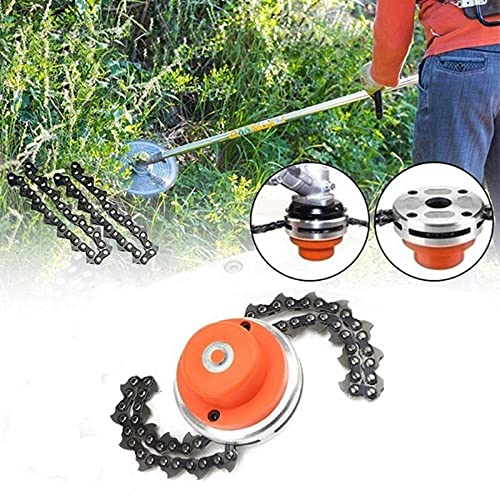 Lawn Mower Chain Weed Trimmer Head 65Mn Grass Brush Cutter Weed Eater Blade Outdoor Garden Tools Universal, Universal Lawn Mower Chain Mowing Head Chain Lawn Mower Garden Lawn Mower Tool Accessories