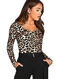 Verdusa Women's Long Sleeve V Neck Fitted Leopard Cheetah Tee Tops L