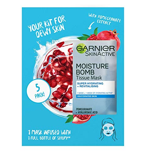 Garnier SkinActive Moisturising Tissue Mask, Moisturising and Firming, Pomegranate + Hyaluronic Acid, for Dehydrated Skin, Set of 5