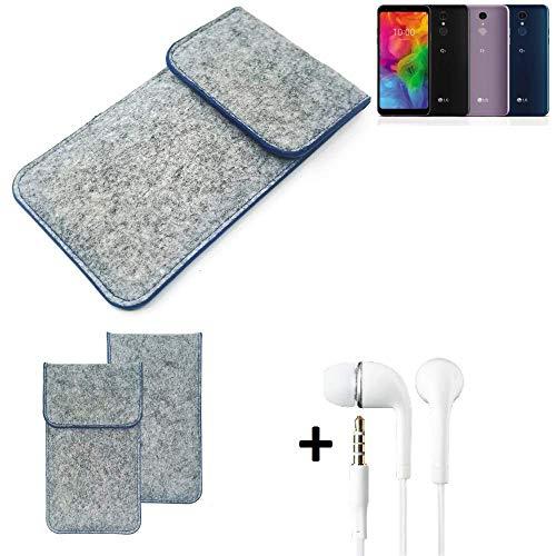 K-S-Trade Filz Schutz Hülle Für LG Electronics Q7 Alfa Schutzhülle Filztasche Pouch Tasche Handyhülle Filzhülle Hellgrau, Blauer Rand + Kopfhörer