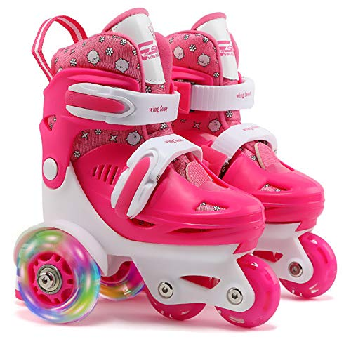 Quad Roller Skates for Kids Girls with Adjustable Size (Age 3-9), Double Brakes, Luminous Wheels, 3-Point Balance, Include Knee Pads Elbow Pads Wrist Guards