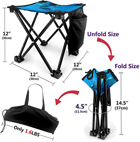 LLOOP Camping Stool Folding Panda Baby Killer Whale Portable Chair Camping Hunting Fishing Travel with Carry Bag