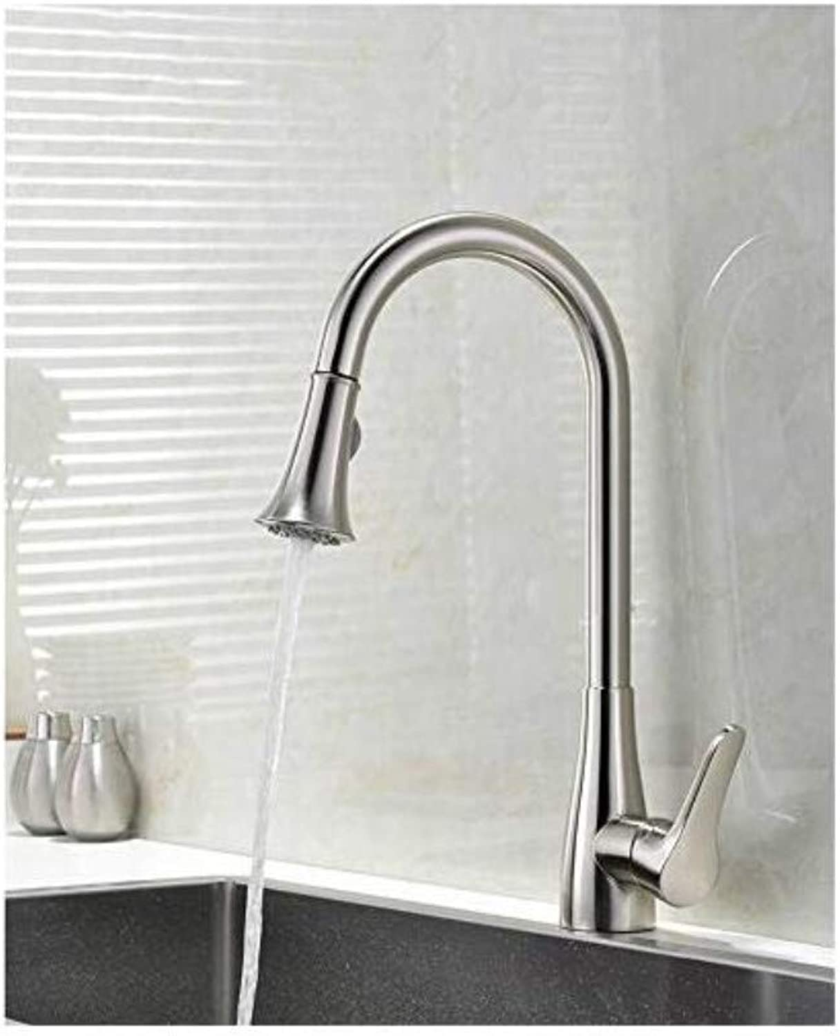 All Copper Faucet Taps Kitchen Hot and Cold Sink Drain Faucet Can Be redated High-End Kitchen Brushed Faucet