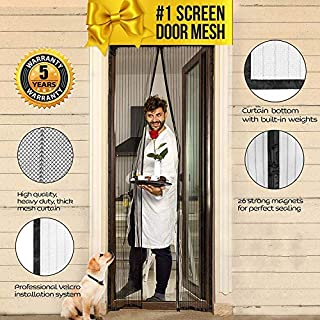 Lazy Monk Magnetic Screen Door with Magnet Closure & Velcro 40 x 82 I Doorway Mosquito Curtain Cover Netting | Pet & Dog Friendly Patio / Front Door Bug Mesh Insect Screen | Anti Moskito & Fly Net