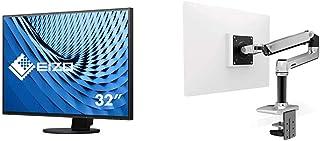 【セット買い】EIZO FlexScan 31.5インチ ディスプレイ モニター フレームレス 4K UHD IPS USBType-C HDMI DisplayPort 5年保証 EV3285-BK & エルゴトロン LX デスクマウント モ...
