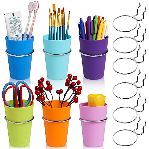 qoupln 6 Sets Pegboard Hooks with Pegboard Cups,Pegboard Bins with Rings,Ring Style Pegboard Bins with Rings Pegboard Cup Holder Accessories for Organizing Storage