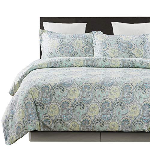 Vaulia Lightweight Microfiber Duvet Cover Sets, Paisley Pattern Design, Queen Size