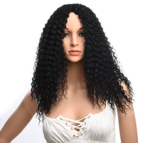 Silike Afro Kinky Curly Wig Kanenkalon Fiber Jerry Curl Wigs For Black Women African American Female Wig Heat Resistant Fiber (Long, 1B)