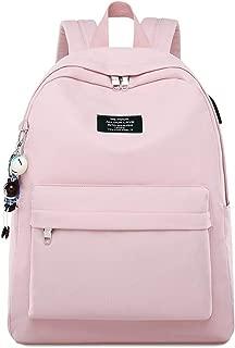 QXYOUNGB Mochila para portátil con impresión en Color sólido para niñas Colgante de Carga USB Mochilas Escolares para niños Mochila de Viaje Femenina (Pink,42.5 * 30.5 * 13.5cm)