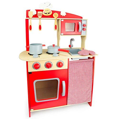 Best For Kids Kinderküche Spielküche W10C072 aus Holz mit Zubehör Super Qualität
