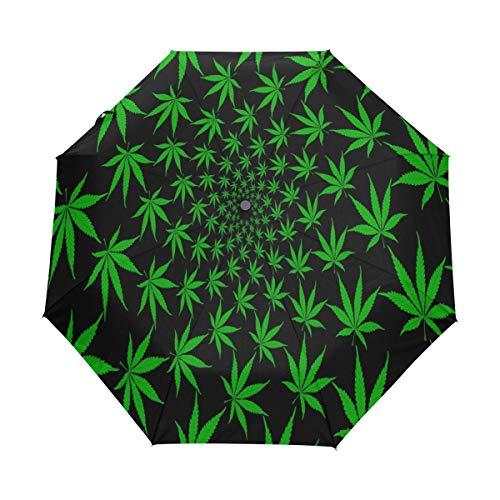 Hunihuni - Paraguas Plegable con Hojas de Marihuana, Resistente al Viento, Resistente al Agua, protección contra Rayos UV, Paraguas