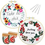 Nuberlic 2 Pack Embroidery Kits for Beginners, Cross Stitch Starter Kit Adults Kids Stamped Embroidery Kit with Pattern Embroidery Hoops Cloth Floss Thread Needles