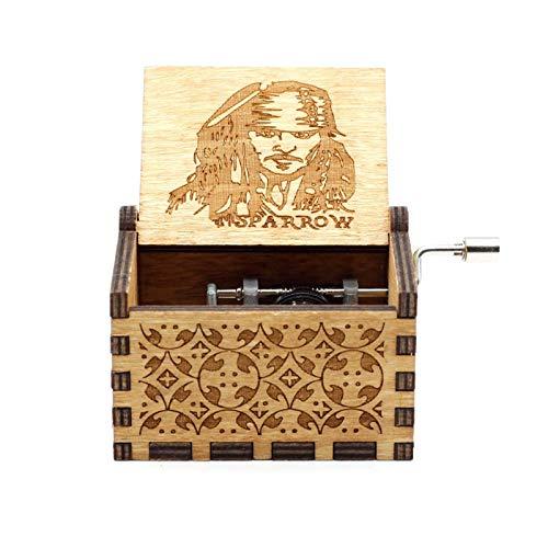 GSHGS Miniatura Caja Musica De Madera Caja De Música Titanic Vintage Manivela Antigua Tallada De Inicio Música Juguetes Decoración del Hogar 0D