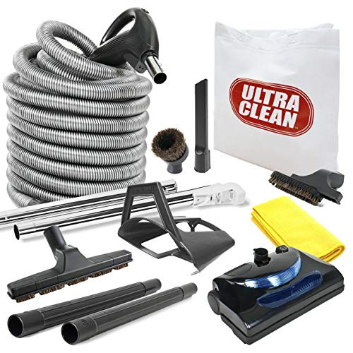 Ultra Clean Central Vacuum kit with Powerhead, hose and tools for Beam Electrolux Nutone Hayden fits all brands white head (black, 30ft)