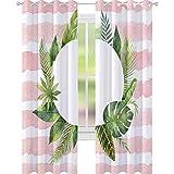 YUAZHOQI cortina opaca acuarela marco redondo hojas tropicales y ramas en la b cortinas personalizadas 52' x 274 cm