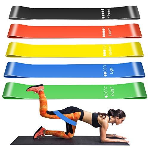 Fitnessbänder Widerstandsbänder Trainingsbänder Set, Resistance Hip Bands mit 5 Verschiedene Zugkraftstärken Bänder Yoga Rehabilitation Übung bänder