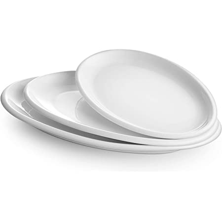 """DOWAN Large Serving Platters, 16""""/14""""/12"""" Oval Serving Platters, Oven Safe, White Serving Plates, Porcelain Dinner Platters for Appetizers Meat Snacks, Serving Dishes for Entertaining, Party, Set of 3"""