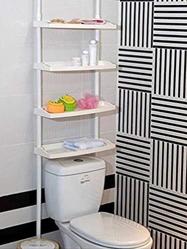 Keraiz F2-E9PZ-UOM1 4 Etagen für Küche, Badezimmer, Dusche, Regal, höhenverstellbar, Keine Schrauben erforderlich, weiß