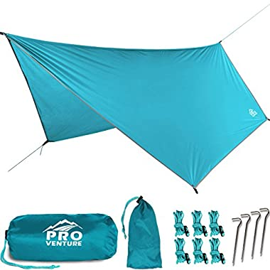 Pro Venture WATERPROOF HAMMOCK RAIN FLY - Portable Large Rain Tarp - Premium Lightweight Ripstop Nylon - Fast Set Up - Hammock Camping Essential! 12FT x 9FT HEX Shape.