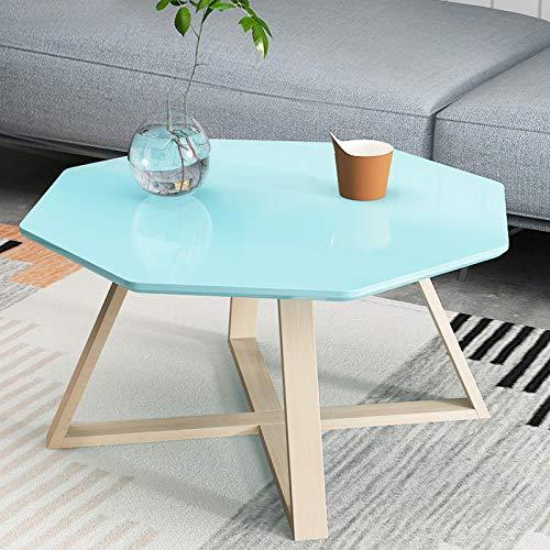 NA Thee tafel, eenvoudige woonkamer creatieve witte salontafel, slaapkamer nachtkastje, kleine vierkante bijzettafel,Blauw, 60Cm/23.4In