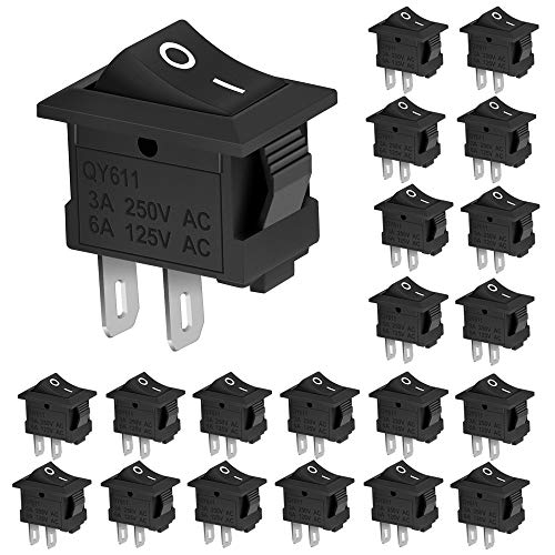 DECARETA 20 PCS Interruptor Basculante de ON/OFF,Mini Interruptor de Encendido/Apagado,Auto Botón Interruptor Rocker Switch para Coche,Barco,Varios Dispositivos de Potencia-Negro