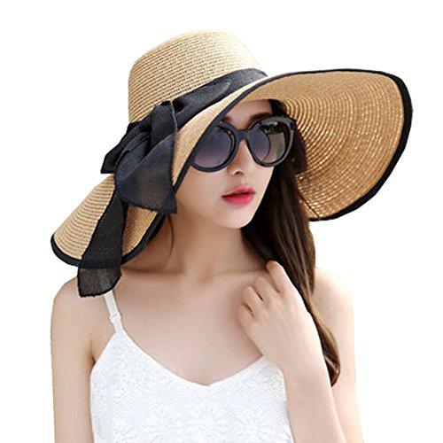 DRESHOW Womens Wide Brim Straw Hat Floppy Foldable Roll up Cap Beach Sun...