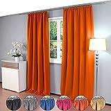 2 piezas Gräfenstayn® Alana - cortina térmica opaca de un solo color Cortina de oscurecimiento con cinta de cortina universal - PAQUETE DOBLE - 135 x 245 cm - muchos colores atractivos (Naranja)
