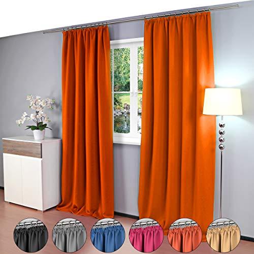 Gräfenstayn® Alana - cortina térmica opaca de un solo color Cortina de oscurecimiento con cinta de cortina universal - 135 x 245 cm - muchos colores atractivos (Naranja)
