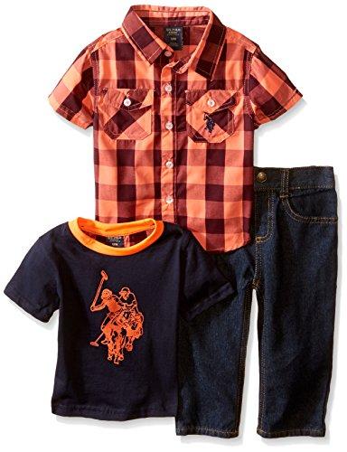 U.S. Polo Assn.. Baby Boys' Buffalo Plaid Sport Shirt, Logo T-Shirt and Denim Jean, Red Plaid/Blue, 24 Months