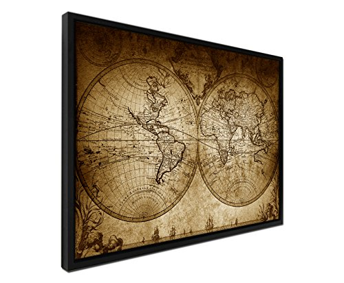 Décoration murale – Couleur sépia – Sur Toile Filtre ajourages Cadre Noir – 105 x 75 cm Carte du monde vintage 1733