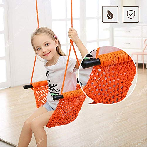 FANGX Swing&Hanging Chair,Kids Swing Chair Ergonomics U Type of Net Pocket Hanging Rope Swing Chair Handmade Knitted for Indoor Outdoor,Support 300kg,A