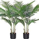 Fopamtri Planta de Palma de Areca Artificial 110 cm Palmera Falsa con 10 Troncos, decoración Moderna para Interiores y Exteriores, Plantas en macetas para la Oficina en casa (2 Piezas)