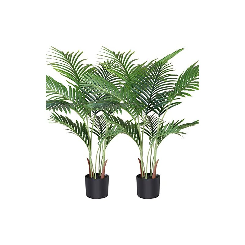 silk flower arrangements fopamtri artificial areca palm plant 3.6 feet fake palm tree with 10 trunks faux tree for indoor outdoor modern decor feaux dypsis lutescens plants in pot for home perfect housewarming gift, 2 pack