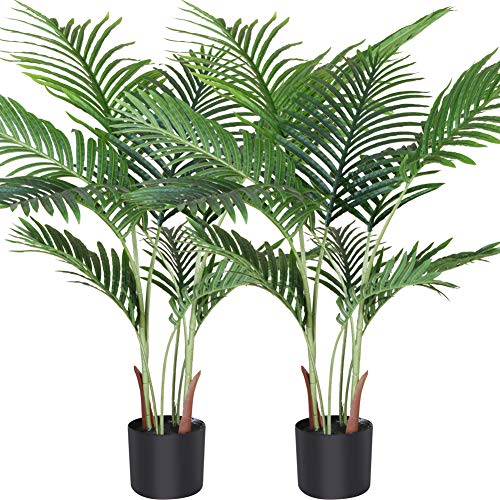 Fopamtri Planta de Palma de Areca Artificial 110 cm Palmera Falsa con 10 Troncos, decoración...