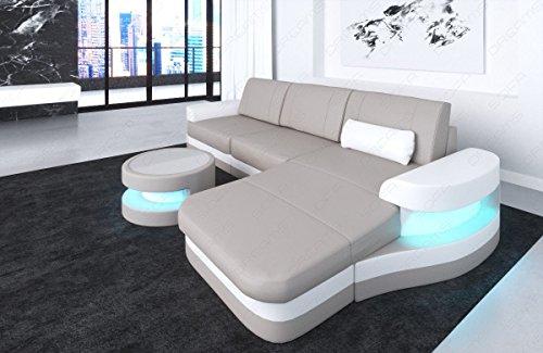 Sofa Dreams Lederen bank Modena in L-vorm als moderne hoekbank met verlichting