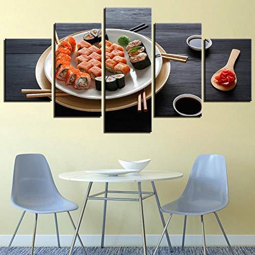 TXFMT Geen frame canvas decoratie schilderij handgemaakte DIY 5 Stuks Muur Kunst Schilderen Diverse Kleurrijke Sushi Poster Print Op Canvas Japanse Voedsel Foto Thuis/Keuken/Restaurant Decor foto's non-woven c 150*100CM