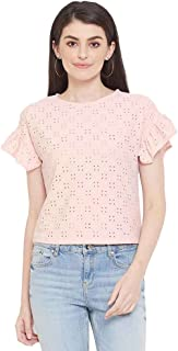 Madame Structured Cotton Boat Neck Womens Top(S21MADM1S11118P-P)