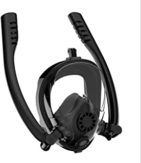 HJKB Full Face Snorkel Mask, Patented Safe Breathing Separation Professional Snorkeling Mask with 180°Undistorted Panoramic View, Anti-Fog Anti-Leak Diving Mask with Camera Mount