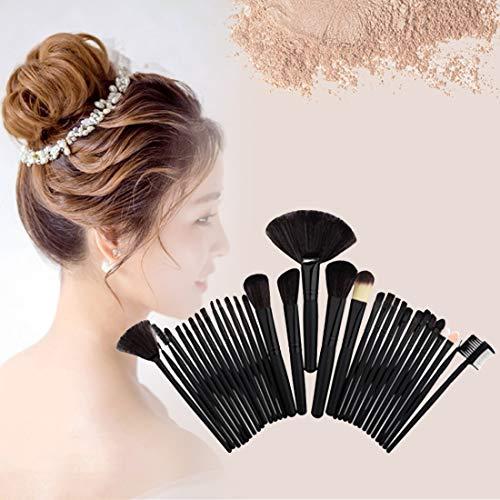 Baobao 32 en 1 manche en bois pinceau de maquillage cosmétiques Fond de teint crème poudre fard à joues Maquillage Tool Set (Noir) (Couleur : Black)