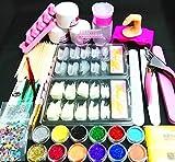 Nail Kit Set Professional Acrylic with Everything, 12 Glitter Acrylic Powder Kit Nail Art Tips Nail Art Decoration, DIY Nail Art Tool Nail Supplies Acrylic Nail Kit for Beginners
