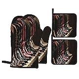 Juego de 4 manoplas para horno y soportes para ollas,fotografía de varios tipos de botas de cuero de vaquera de rodeo,imagen Art Western Fashion,guantes de poliéster para barbacoa con forro acolchado