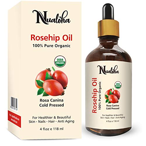 Nualoha Organic Rosehip Seed Oil, 100% Pure, Cold Pressed, Unrefined All Natural Anti-aging Moisturizer, Reduce Acne Scars,...