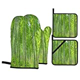 Juego de Manoplas y Porta ollas para Horno,Bosque de árboles de bambú en el Condado de Anji,Guantes y agarraderas Resistentes al Calor para cocinar,Hornear,Asar,Servir,Barbacoa o Cena