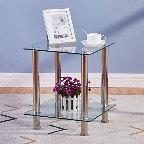 GOLDFAN 2 Livelli Tavoline da caffè Piccolo Vetro Transparent Tavoline Bassi Stoccaggio Tavoline Quadrato con Piedi in Acciaio Inossidabile, Design Moderno, 40 * 40 * 48cm