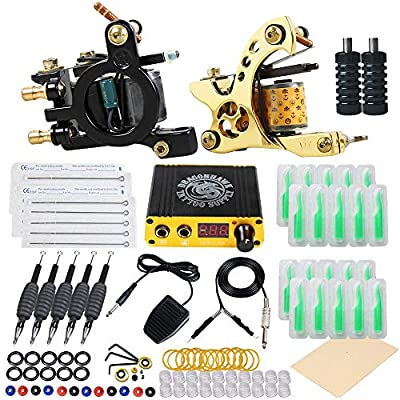 Dragonhawk Complete Tattoo Kit 6Pcs Coils Tattoo Machines Kit Immortal Tattoo Inks Power Supply Needles Grips Tips with Case Tattoo Supplies for Beginners 5-3N