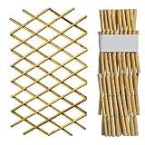 YOGANHJAT Celosia Madera Extensible bambú Resistente para Plantas De pie Valla jardín Planta Apoyo Pannels enrejados Decoración de balcón Seto Artificial Extensible 180 * 60cm
