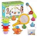 KWINY Juguetes de baño para niños pequeños, juego de juguetes de pesca sin moho con juguetes de baño, divertido juguete de baño de bebé para bañera, piscina para 1 2 3 4 5 6 años