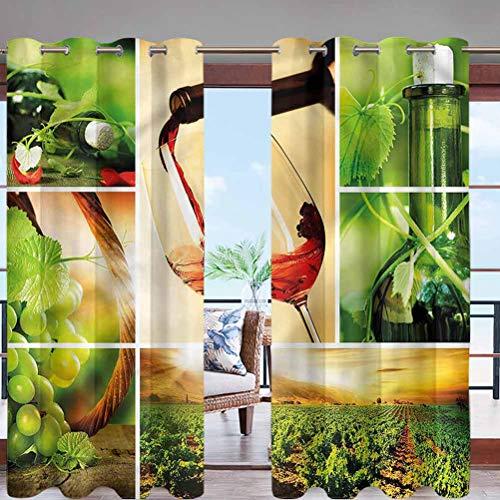 Hiiiman Outdoor Curtain UV Privacy Drape Thick Waterproof Fabric Wine Tasting Grapevine W96 x L84 Grommet for Porch Balcony Pergola Lanai Tent Gazebo Window